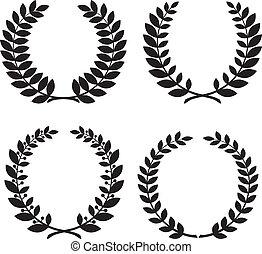Set of laurel wreath black silhouettes