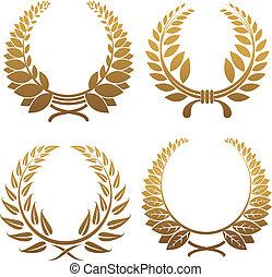 Set of gold and black laurel wreaths