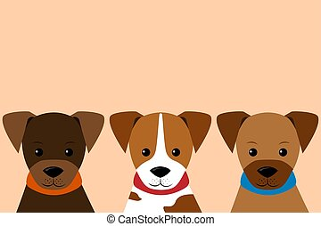 set of little Puppy in flat style.