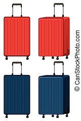 Set of luggage on white background