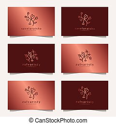 Set of luxury woman face combine with leaf logo design. feminine design concept for beauty salon, massage, cosmetic and spa.