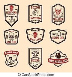 Set of mma and boxing club emblems. Design element for logo, label, sign, poster, t shirt. Vector illustration