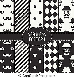 Set of monochrome hipster fashion geometri seamless pattern with mustache. Collection of paper for scrapbook. Vector background. Tiling. Stylish graphic texture for your design, wallpaper.