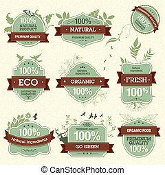 Set of vector natural premium quality labels