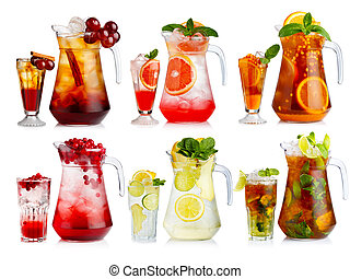 Set of nonalcoholic cocktail in jugs and glasses with fruits and berries isolated