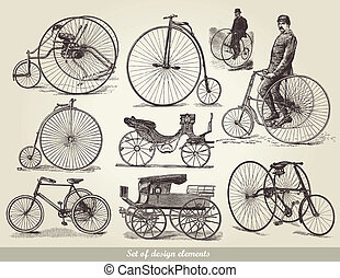 Vector set of old bicycles