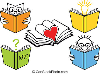 open books, vector