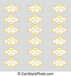 Set of organic vegetables badges