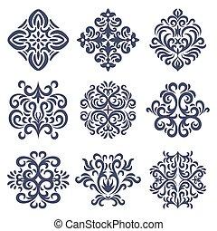 Set of Oriental  damask patterns