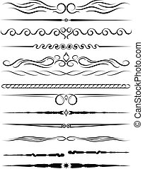 Set of ornamental borders and vintage page dividers