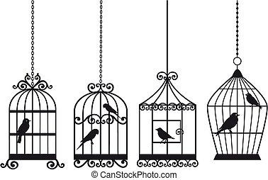 set of ornamental vintage birdcages with birds, vector background
