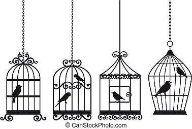vintage birdcages with birds