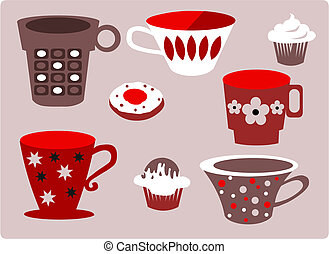set of patterned cups of coffee or tea