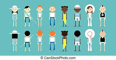 Set of people in summer outfits