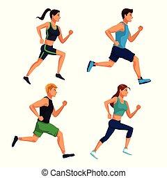 Set of people running