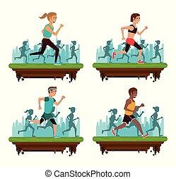 Set of people running on marathon