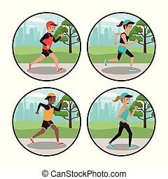 Set of people running round icons