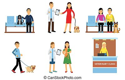 Set of people with animals in a veterinary clinic. Vector illustration.
