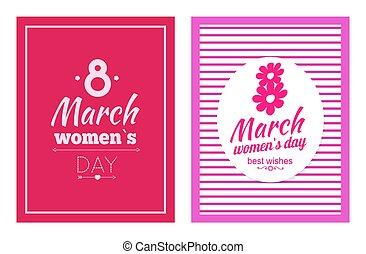 Set of Posters Dedicated to 8 March Best Wishes