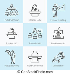 Set of public speaking presenation business conference flat line icons in gray color on squares
