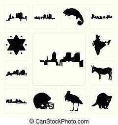 Set of, raccoon, stork, football helmet, wisconsin, donkey, louisiana outline on white background, india, star david icons