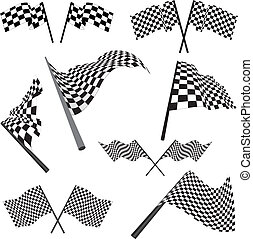 Set of black and white checked racing flags. Vector illustration.