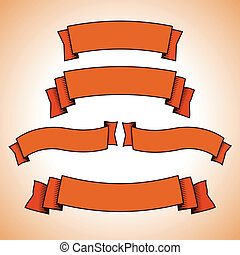 Set of red retro banners or ribbons