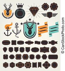 Set of retro vintage badges and labels. Vector illustrations.