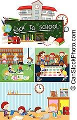 Set of school scenes