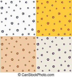 Set of seamless pattern with animal footprints, cat, dog.