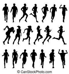 Set of silhouettes of running men and women. Run, runner, sport
