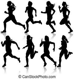 Set of silhouettes. Runners on sprint, women. vector illustration.