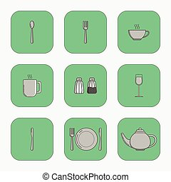 Set of simple icons for utensiles spoon, knife, fork, plate, cup, mug, teapot, salt cellar, pepper pot, wine glass in squares on green background.