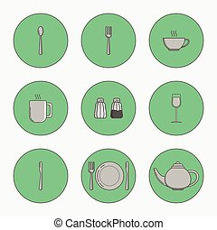 Set of simple icons for utensiles spoon, knife, fork, plate, cup, mug, teapot, salt cellar, pepper pot, wine glass in circles on green background.