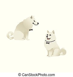 Set of sitting white fluffy dogs with different emotions on face.