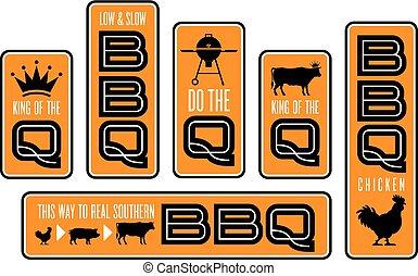 Set of six Barbecue emblems.