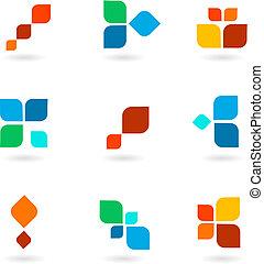 Set of six colorful symbols, vector illustration