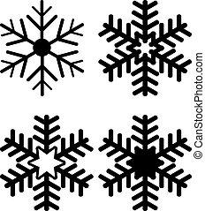 Set of Snowflake Silhouettes