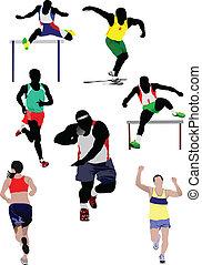 Set of some kinds of athletics. Vector illustration