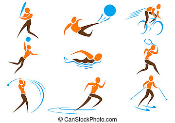 illustration of set on sports icon on white background