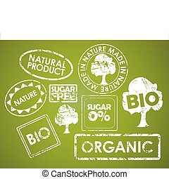 Set of stamps for organic food