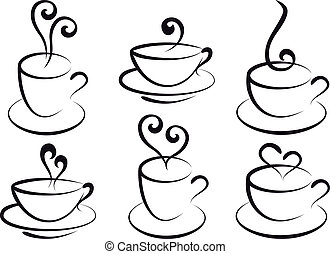 set of steamy coffee and tea cups, vector