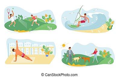 Set of Summer outdoor activities