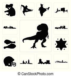 Set of t rex, maryland outline, in black, montana, alabama, football helmet, star david, turkey leg, haiti, wisconsin icons