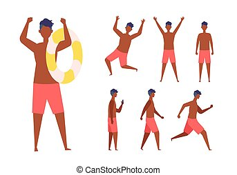 Set of the man wearing the swimsuit in different poses.