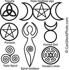 Set of the Wiccan symbols: Triqueta, or Celtic Knot, symbol of Triple Goddess, Pentacle, Spiral Goddess, Horned God, Triple Spiral of Goddess and Hecates circle