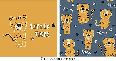 set of tiger print and seamless pattern with cute tigers. vector illustreation
