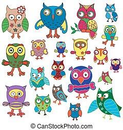Set of twenty amusing colorful owls, cartoon vector illustration isolated on the white background