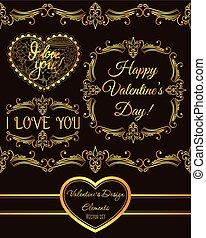 set of valentine design elements golden