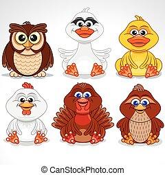 Set of Various Cartoon Birds. Vector